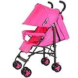 Meen El Cochecito De Bebé, Luz Puede Sentarse La Carretilla Plegable Portátil De Los Niños del Paraguas Que Descansa (Color : Pink)
