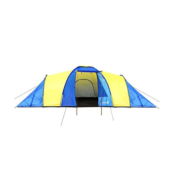 Peaktop 3 Bedrooms 1 Large Living Room 8 Persons Camping Tent Family Group Double Poles Hiking Beach Outdoor Tunnel Dome 3000mm Waterproof &UV Coated Bright Color 1 Year Warranty (5 Shapes) 1