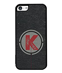 FUSON Designer Back Case Cover for Apple iPhone 5c (K Is Ok Initial Red Glossy Round Icon K Random Red)