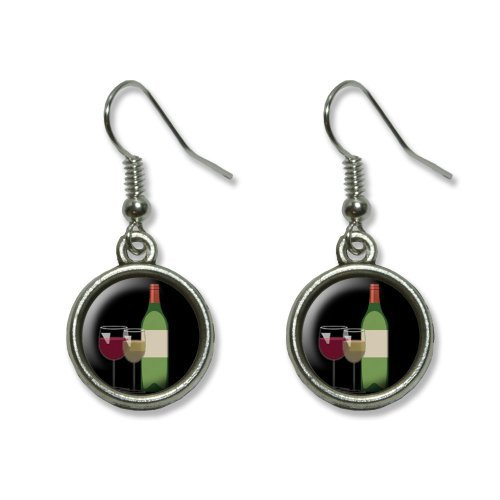 Wine Vino White Red Zinfandel Merlot Novelty Dangling Dangle Drop Charm Earrings by Graphics and (Merlot White Zinfandel Vino)