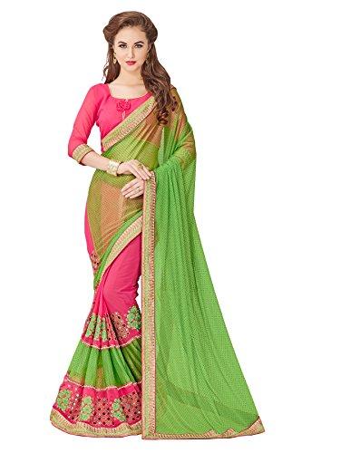 saree center Saree With Blouse Piece (_Green_Free Size)