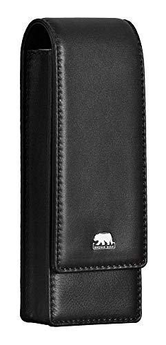 Brown Bear Schreibgeräte-Etui Leder Schwarz für 3 Stifte mit Magnet-Verschluss Echt-Leder hochwertig Stifte-Halter Stifte-Etui Stifte-Tasche