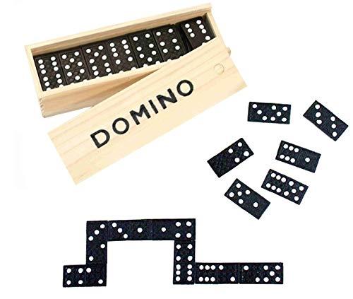 wuselwelt Holz Domino Spiel, Dominospiel, in Holzbox, Holzschachtel, Gesellschaftsspiel, Familienspiel, Reisespiel
