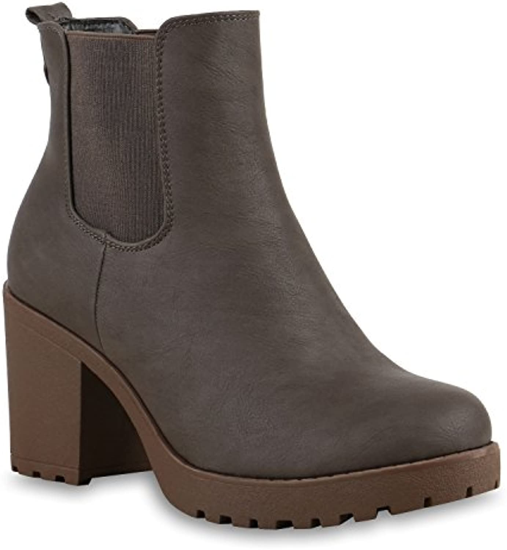 Stiefelparadies Damen Klassische Stiefeletten mit Blockabsatz Nieten Schnallen Flandell