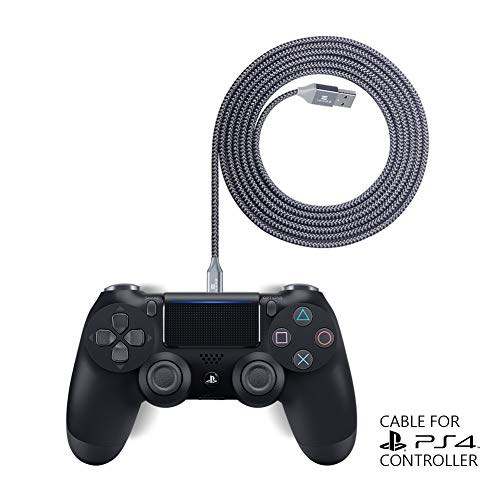 Exinoz® 2m Geflochtenes Nylon Ladekabel für PS4 DualShock und Xbox One Controller   Perfekte Länge USB Kabel für Playstation 4 und Xbox   Kabel mit 1 Jahr Umtauschgarantie