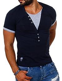 Carisma T-shirt pour homme Double col en V profond Coupe étroite Couleurs contrastées