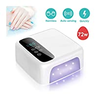 Hotrose Cordless UV LED Nail Lamp, 72W Rechargeable Nail Dryer 15600mAH Wireless Fast Nail Polish Curing Lamp with 4 Timer, Touch Screen Auto Sensor Professional Nail Art Tools for Home and Salon