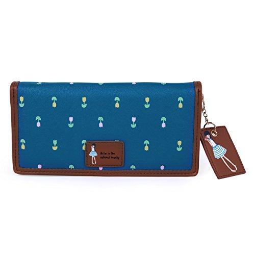 Damara Damen Niedlich Design Geblümt Muster Lang Geldbeutel,Blau (Niedliche Geldbörse Muster)