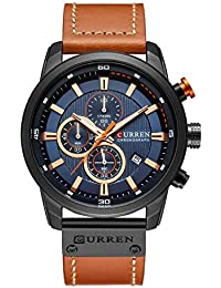 4b5ec006ce9 CURREN Men s Fashion Classic Analogue Quartz Wrist Watch with Leather Strap  Calendar Chronograph (Black)