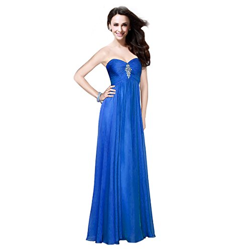 Fashion plaza chiffon et épaules dégagées de soirée de fête d0135 robe danse - Sapphire Blue