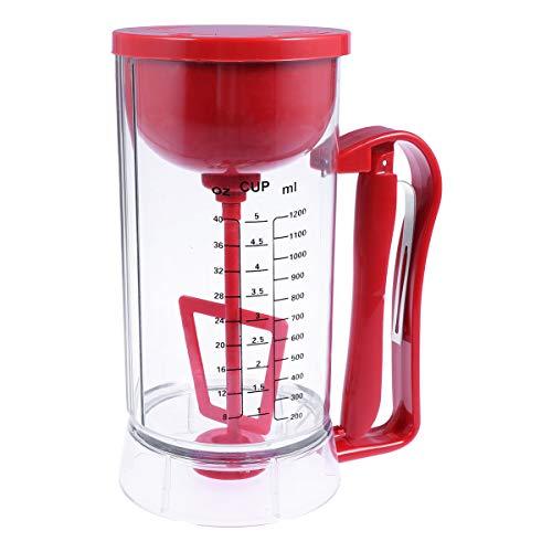 BESTONZON Elektrische Pfannkuchen-Maschine Batter Dispenser Pancake Batter Dispenser Kuchen Batter Dispenser Fett-Separator Perfekt für Waffeln Muffins und Kuchen ohne Batterien