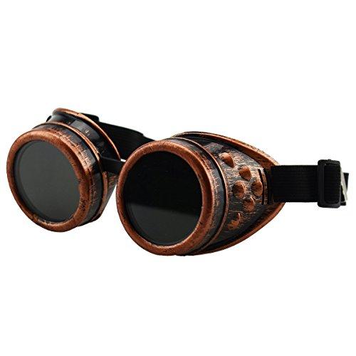 Unisex Retro Sonnenbrille Cyber Goggles Steampunk Brille Brille Schweißen Punk Gothic Brille Halloween Cosplay Vintage viktorianischen (Red Bronze)