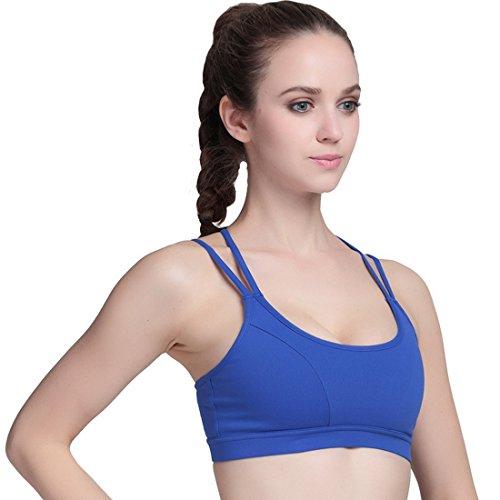 Vertvie Femme Multi-straps Fines Soutien-gorge Sport Bra avec Pad Amovible Antichock Sans Armature pour Fitness Yoga Jogging Bleu