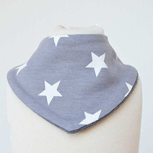 Baby Lätzchen Sabberlatz Halstuch Bib Jungen 0-3 Jahre Fleece Jersey grau weiße Sterne Kinder SChal Grau Bib