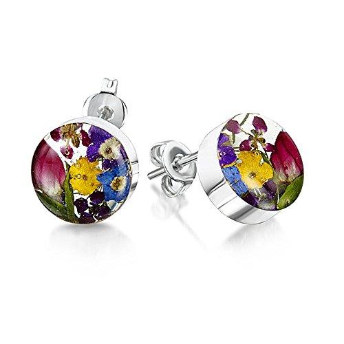 TF Flower: runde Ohrstecker mit Blumen im Blumenmix, Sterling-Silber 925 (Mohn Sterling Silber)
