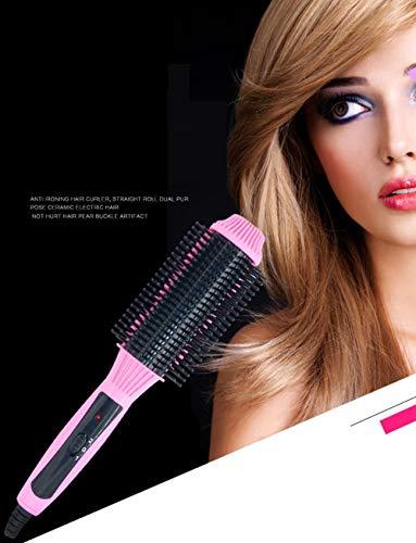 Rizador de cabello Alisador de cabello Rizado de cabello Palillo semicircular Gran rollo Pequeño volumen Golpes de aire@Rosa