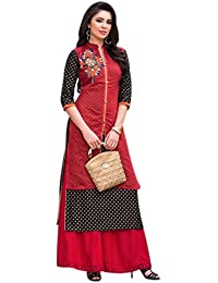 OSLC Women's Clothing Chanderi Cotton Red Color Kurti For Women Latest Design Party Wear Collection