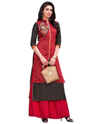 OM SAI LATEST CREATION Women's Cotton Silk Kurti (Multicolor_Large)