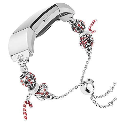 Wearlizer für Fitbit Charge 2 Armband Charge2, Metall Replacement Strass Fitbit Charge2 Armband Wrist Band für Fitbit Charge Two Weihnachtsbaum (Weihnachtsmann)
