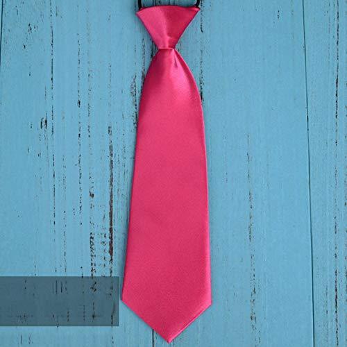 Mode Schule Jungen Kinder Kinder Baby Hochzeit Einfarbig Elastische Krawatte Junge Krawatte Baby Hochzeit Krawatte Krawatte Fleck - Rose Rot