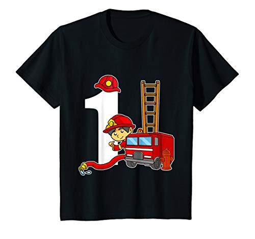 Hydranten Kind Kostüm - Kinder 1 Jahr Alt Feuerwehrmann Geburtstags Shirt Feuerwehrauto T-Shirt