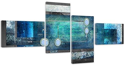 Feeby Frames, Tableau multi panneau 4 parties, Tableau imprimé xxl, Tableau imprimé sur toile, Tableau deco, Type Z, 100x50 cm, ABSTRACTION, CERCLES, RECTANGLES, CADRES, GRIS, BLEU