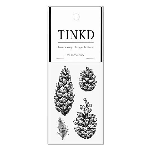 TINKD Temporary Tattoo Pinecones - Tannenzapfen - Hochwertige temporäre Klebetattoos - Made in Germany - Dermatologisch getestet - Design Flash-Tattoos zum Aufkleben - Home Tannenzapfen