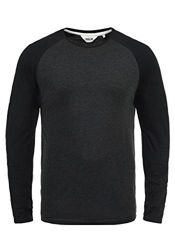 !Solid Bastien Herren Longsleeve Langarmshirt Shirt Mit Rundhalskragen, Größe:L, Farbe:Dark Grey Melange (8288) -