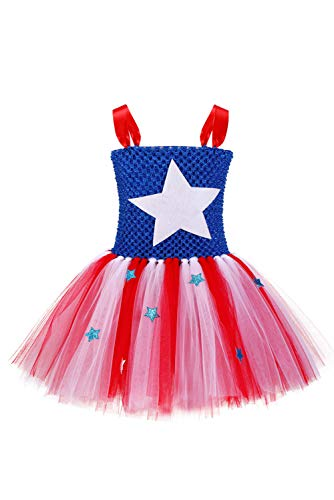 RedJade Kinder Mädchen Superheldin Kleid Party Supermädchen Supergirl Captain America Tutu Ankleiden Cosplay Kostüm