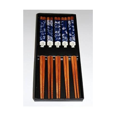 Chinese Blau Vogel & Schmetterlings Druck Bambus Essstäbchen in 5