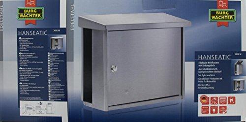 BURG-WÄCHTER, Edelstahl-Briefkasten mit integriertem Zeitungsfach, A4 Einwurf-Format, Edelstahl, Hanseatic 3816 Ni - 4