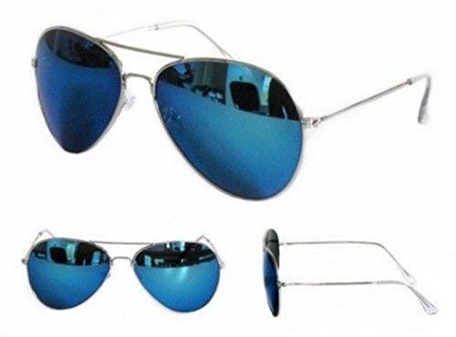 PURECITY©-Sonnenbrille Piloten Treiber FBI-Gestell Metall silber verspiegelt blau-Herren Damen Trend