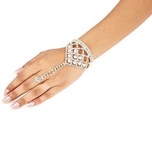 Sanjog Golden Designer Ring Bracelet/Hathphool/Hand Harness/Finger Ring Bracelet for Girls/Women