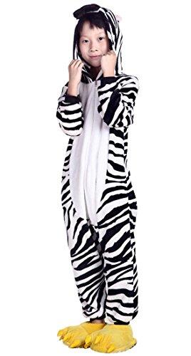 Aivtalk Kind Schlafanzug Warmer Flanell Einteiler Pyjamas Unisex Cosplay Kostüme Tierkostüme Zebra Nachtwäsche Kostüm Für Halloween Animal Sleepwear Asian Size 125cm (Für 9-10 Jahre) - (Halloween Kostüm Asian)
