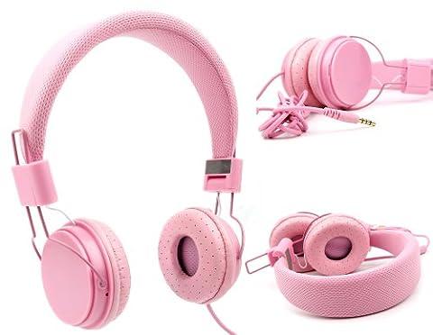Casque rose enfant pour PC Acer Aspire V 13 V3-372, V Nitro VN7-591G-71W9 et V Nitro VN7-792G-76S9 / VN7-572G-55WV – réglable et repliable avec microphone intégré – DURAGADGET