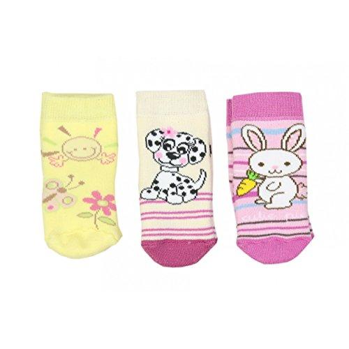 3er Pack Babysocken Frottee Mädchen Erstlingssöckchen Jungen Kindersocken Vollplüsch Warm Winter, Farbe: Mädchen, Größe: 16-18