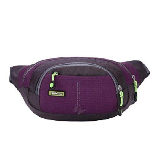 [Sport Hüfttasche] OverDose Mode Unisex Wasserdicht Laufgürtel Camping Bum Outdoor Sports Laufen Hüfttasche Zip-Beutel (Lila)