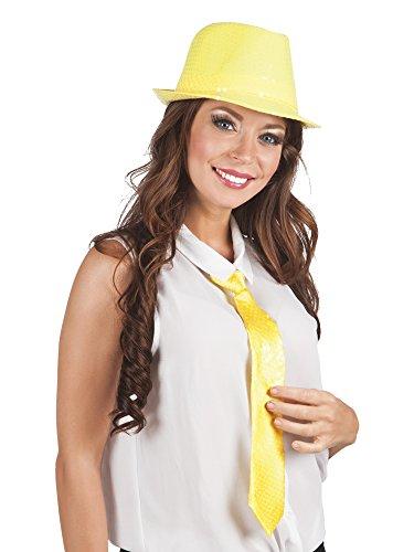 Faschingsfete Kostüm Farbenfrohe Krawatte mit Pailletten, Gelb