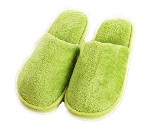Auspicious beginning Pattini caldi del panno morbido delle donne delle coppie della casa degli appartamenti solidi di colore solido degli adulti verde (donne)