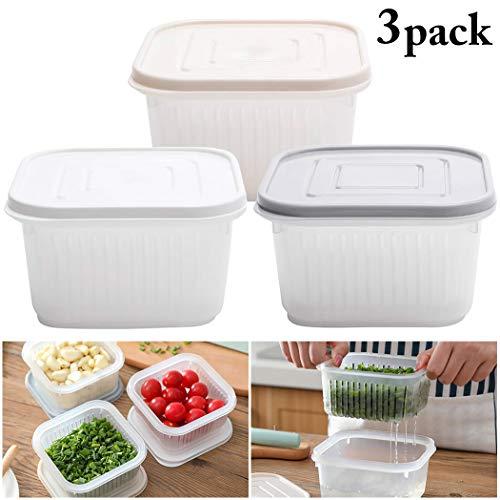 JUSTDOLIFE 3 Sätze Essen Container Kreativ Kühlschrank Lagerung Box für die Heimische Küche