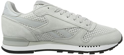 Reebok Herren Classic Leather Clip Tech Sneaker Grau (Skull Grey/White/Black)