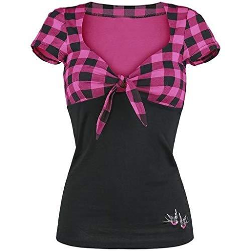 TWIFER Damen Spell Color V Ausschnitt Kariertes Kurzärmeliges Shirt Pullover Tops Shirt