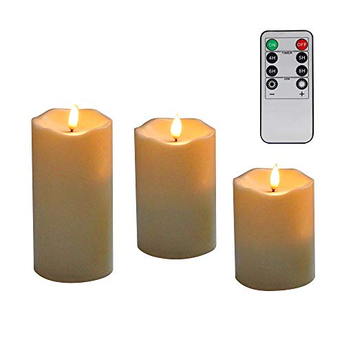 Preisvergleich Produktbild LED Kerzen, Flammenlose Kerzen, Dekorations-Kerzen-Säulen im 3er Set (10, 2 cm 12, 7 cm 15, 2 cm). Realistisch flackernde LED-Flammen. 8-Tasten Fernbedienung mit 24 Stunden Timer-Funktion