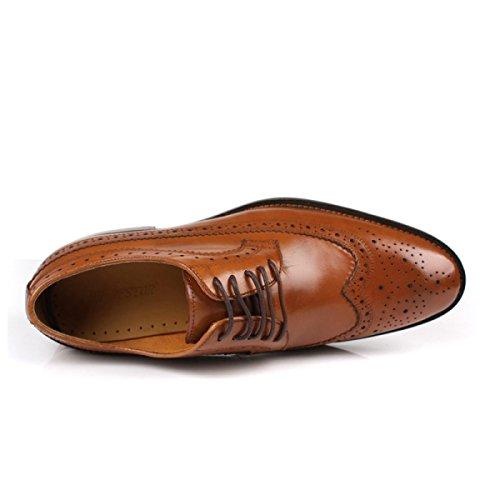 Grrong Men's Leather Shoes Vêtements De Cérémonie En Cuir Véritable Respirant Noir Et Marron Marron