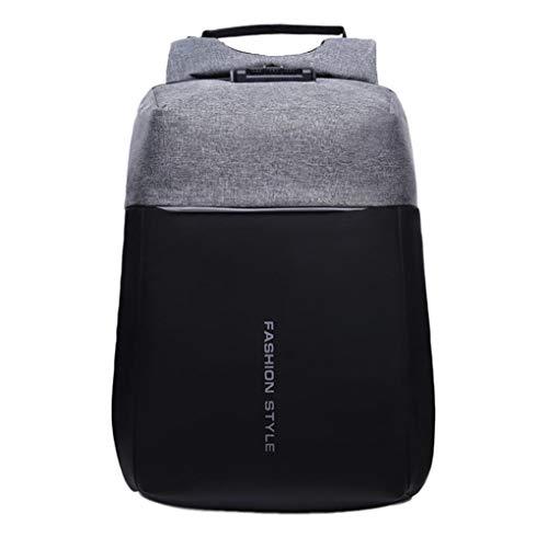 UOMOGO Zaino per Computer portatile, zaini per computer con porta USB di ricarica per notebook e tablet da 15,6 pollici, zaino da viaggio antifurto - grigio (Argento)