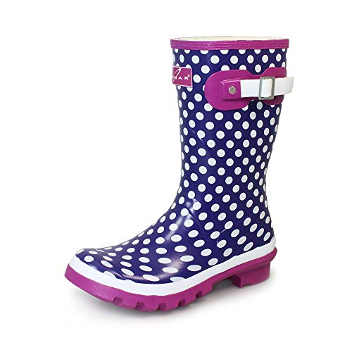 Lunar Girls Dotty Junior Purple Wellingtons