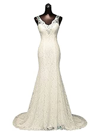 Ysmo Women's Lace Mermaid Prom Dresses Beaded V-Neck Wedding Dresses For Bride