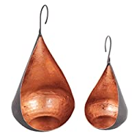 Dibor Set of 2 Black and Copper Decorative Free Standing or Hanging Tealight Holders (B762)
