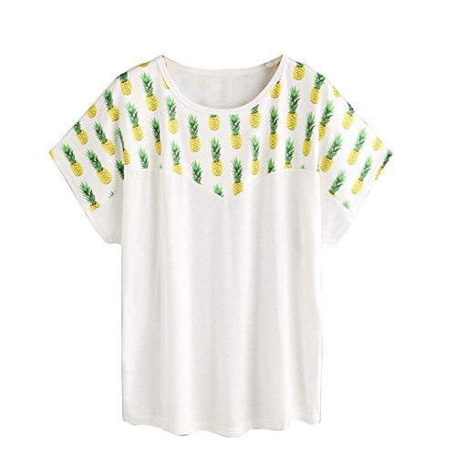 DOLDOA Mode Frauen Ananas gedruckte Bluse Kurzarm Shirt Sommer Bluse Top,Weiß (Größe: 38 Fehlschlag: 90cm / 35.4