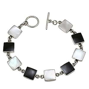 Bracelet en nacre, onyx et argent 925